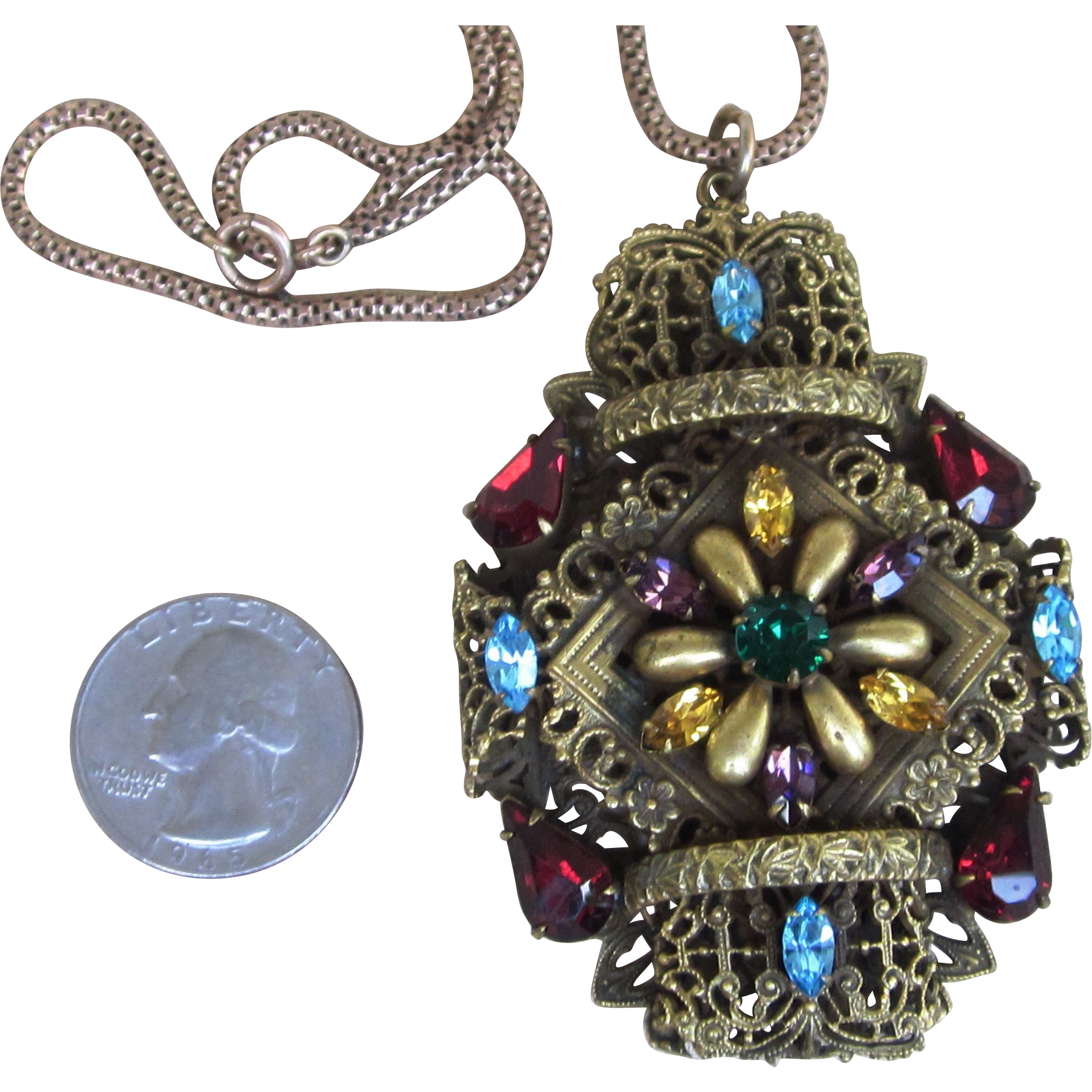 3 Inch Czech Fabulous Ornate Rhinestone Vintage  Pendant Necklace