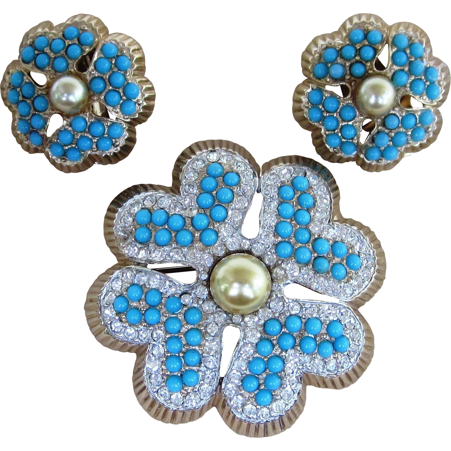 Jomaz Amazing Rare and Unique Vintage Brooch and Earrings Set