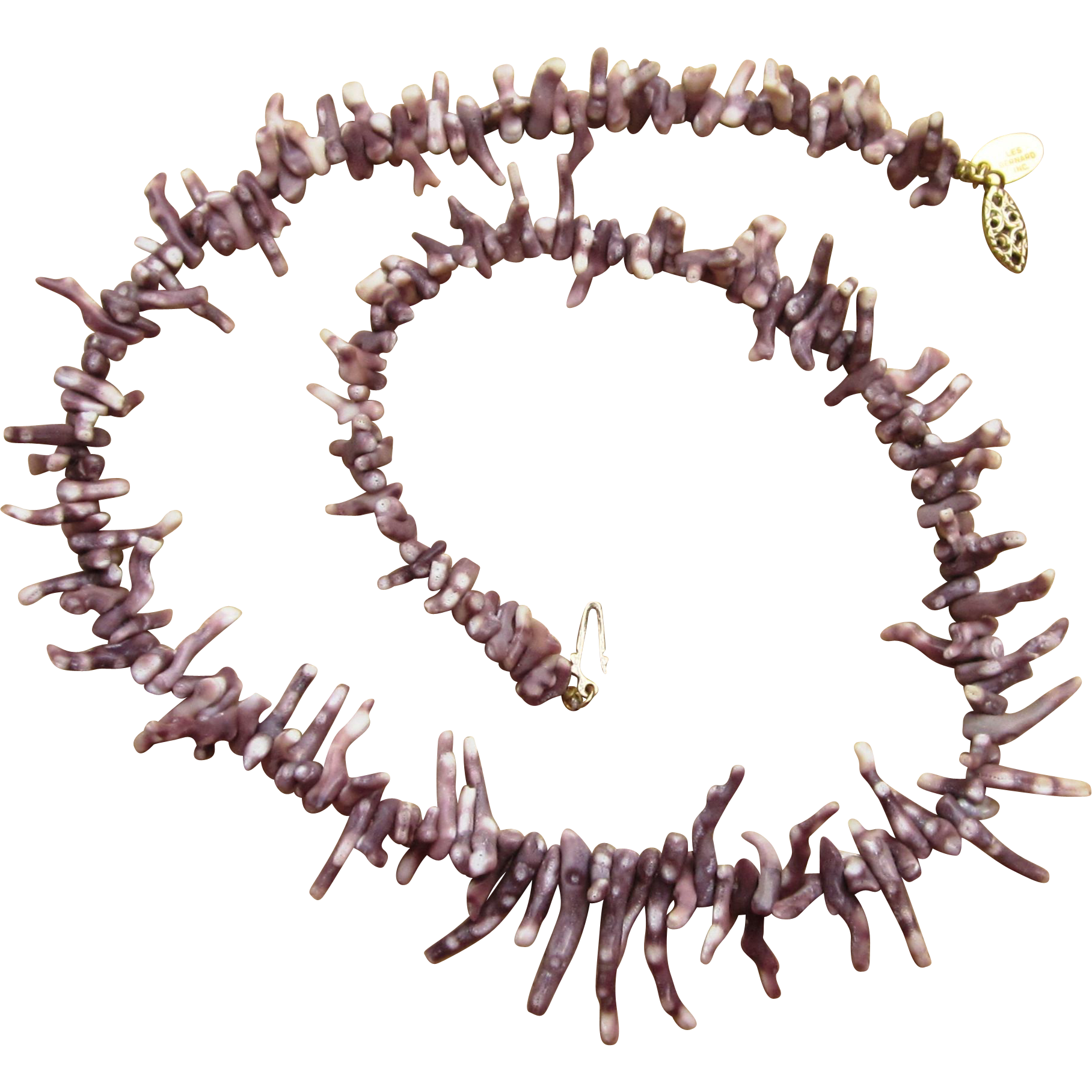 Les Bernard Purple Coral Signed Vintage Necklace