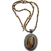 Sterling and Tiger Eye Huge Vintage Pendant Vintage Necklace
