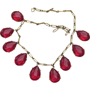 Extraordinary Huge Lucite Teardrop Charm Vintage Runway Necklace