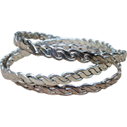 Sterling Mexican Set of Three Vintage Bracelets 45 Grams and Larger Opening