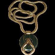 Grosse Rare Bakelite Moderne Vintage Signed Pendant Runway Necklace