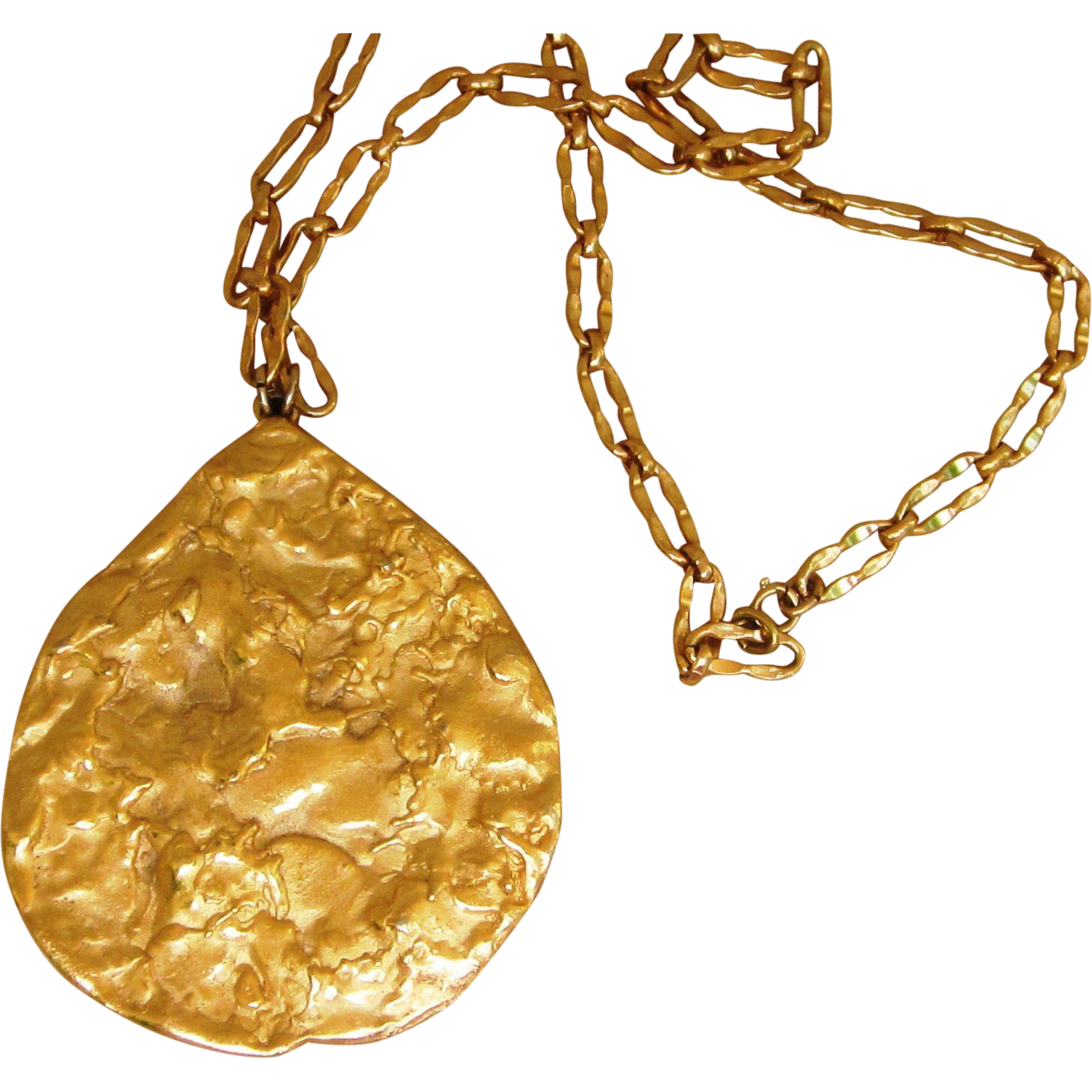 Huge Designer Tear Drop 3 1/4 inch Runway Pendant on Super Chain 1970's