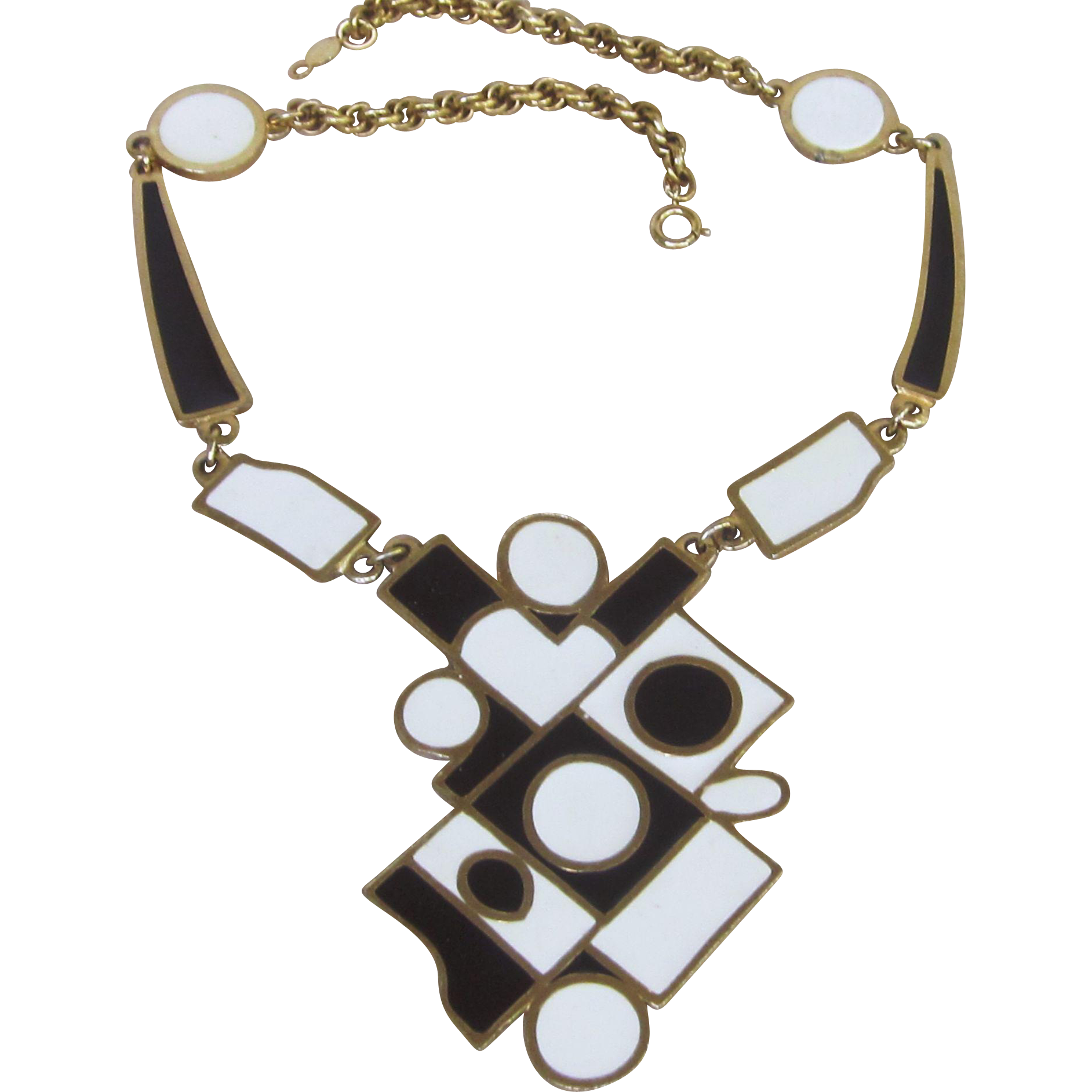 Accessocraft  Modern  Mid Century Signed Huge Vintage Runway Necklace