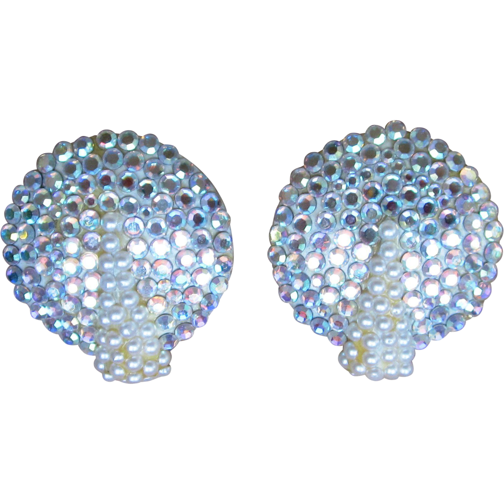 Richard Kerr Signed Rhinestone Large Button Earrings