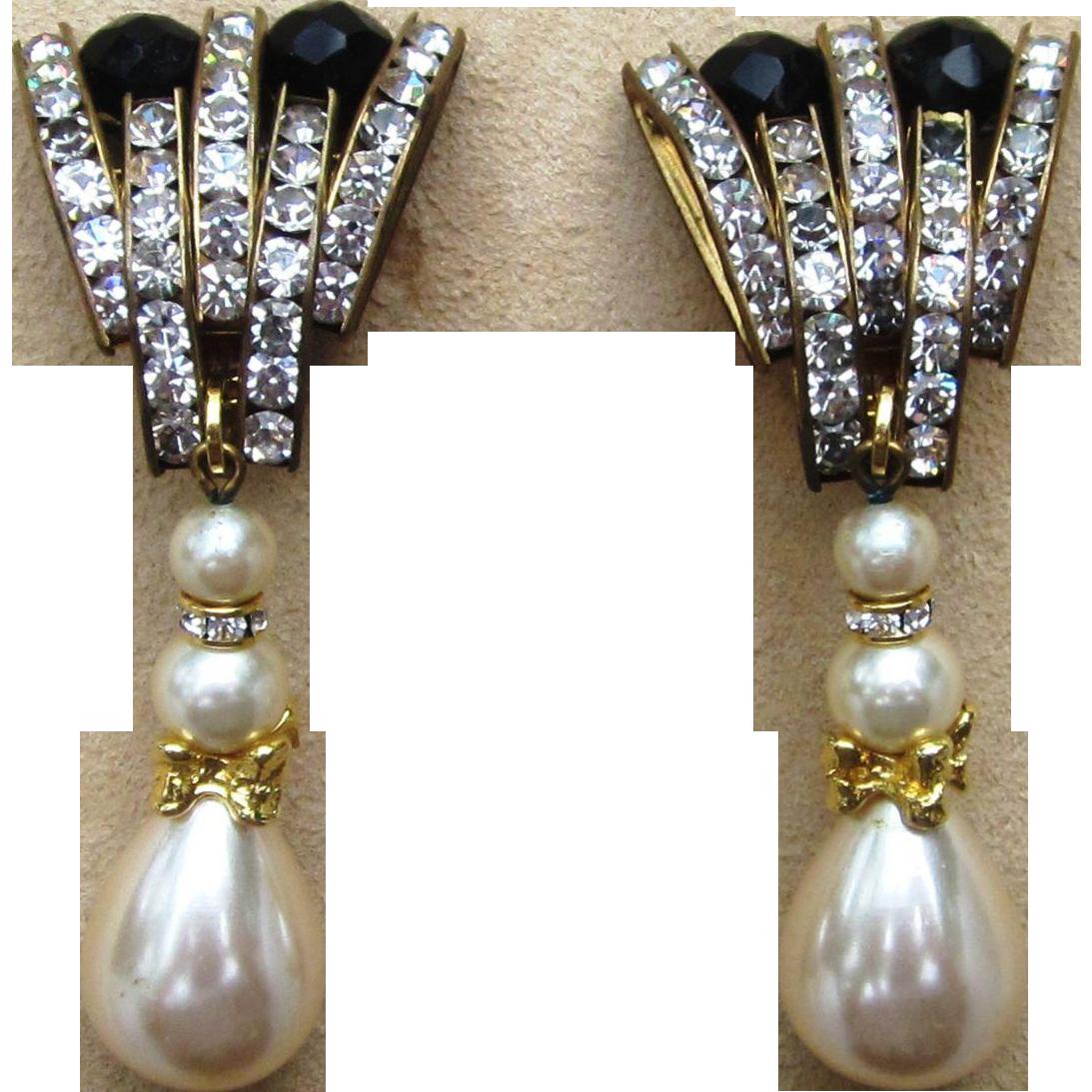 Runway 1980's Big and Bold Rhinestone and Faux Pearl Drop Earrings