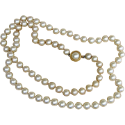Crown Trifari Vintage Faux Pearl 30 Inch Knotted Stunning Necklace