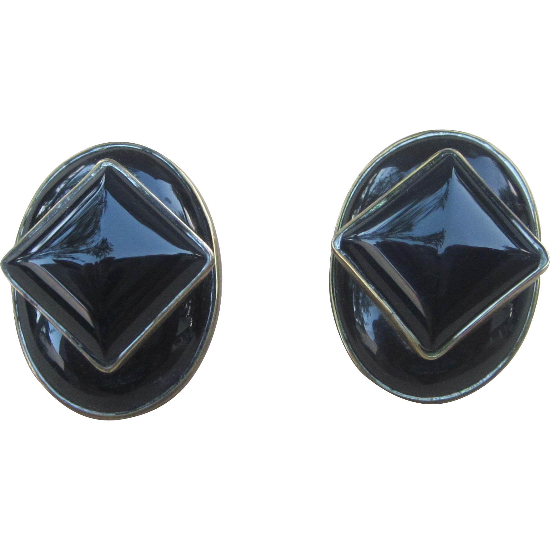 Celia Sebiri Fabulous Onyx Signed Vintage Earrings