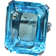 TRIFARI Sterling 1940's Huge Aquamarine Color Signed Vintage Cocktail Ring