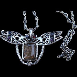 Rare Golden Rutilated Quartz and Sterling Huge Figural Pendant Vintage  Necklace on Unique Sterling Silver Chain