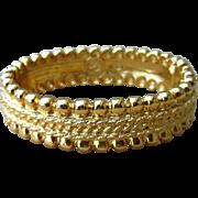 St. John Signed Vintage Status Gold Toned Couture Designer Clamper Bracelet