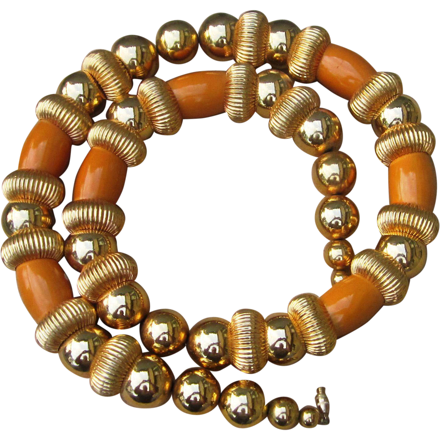 Butterscotch Bakelite Beaded Huge Amazing Runway Necklace