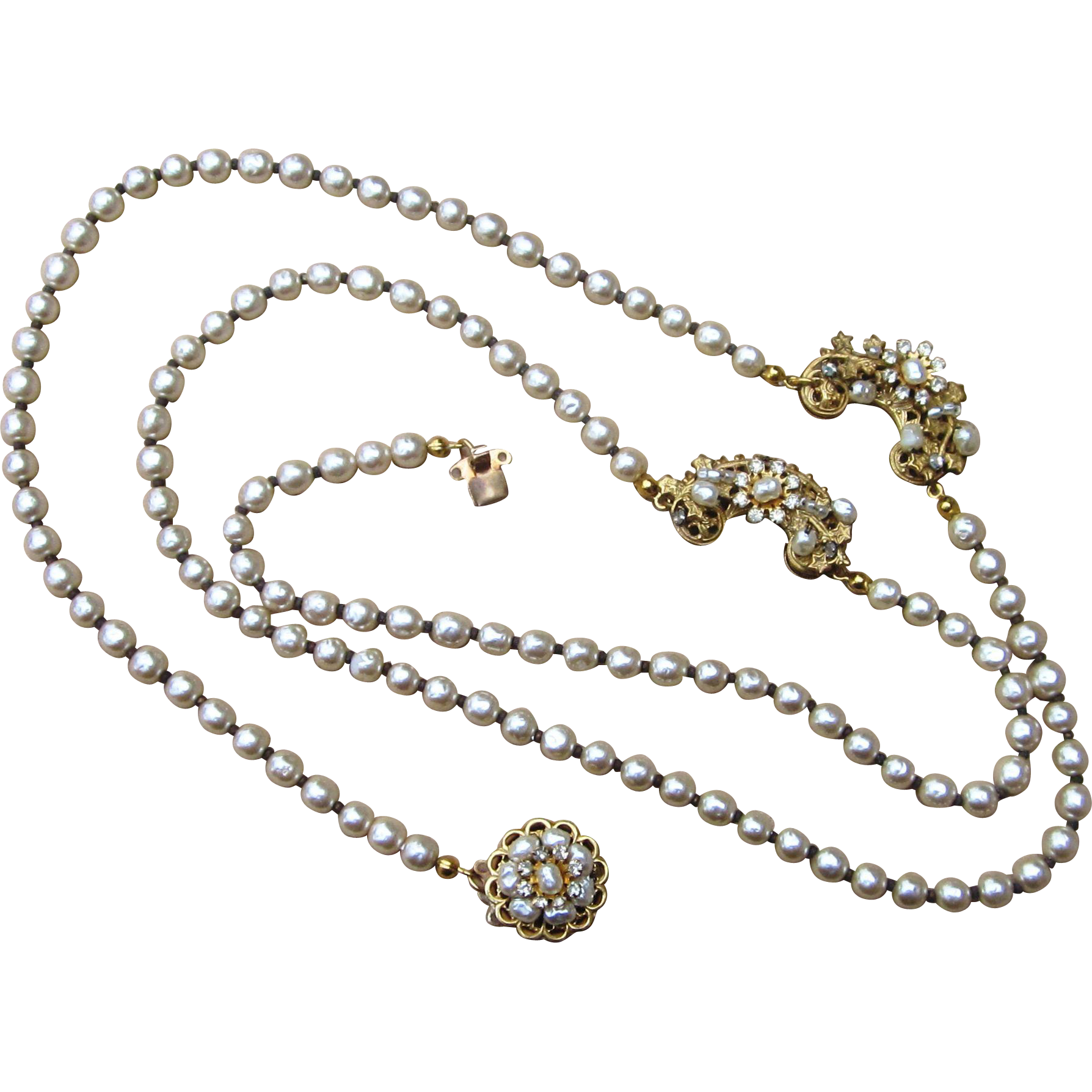 Miriam Haskell Signed Vintage Faux Pearl Necklace