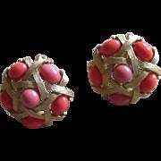 Trifari Signed Faux Coral Vintage Earrings