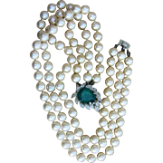 Panetta Rare Signed Flawed Faux Emerald and Pearl Vintage Designer Necklace
