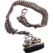 Victorian Gold Filled Watch Chain Bracelet with Wax Seal Fob Charm