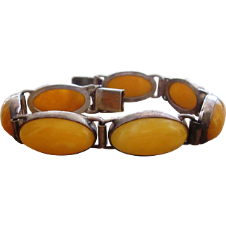 Butterscotch Amber and Sterling Extraordinary Bracelet