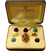 Trifari Complete Interchangeable Brutalist Ring in Original Box and Condition with Tag