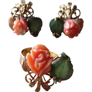 14K Gold, Carved Coral and Jade Vintage Ring and Earrings