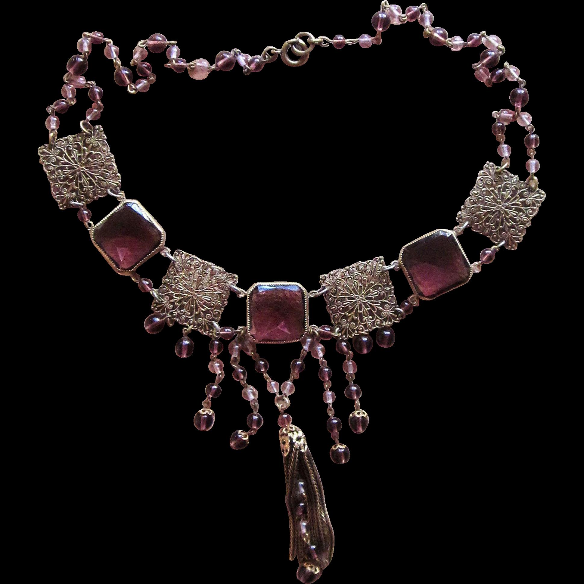 Czech Purple Drippy Art Deco  Vintage Necklace
