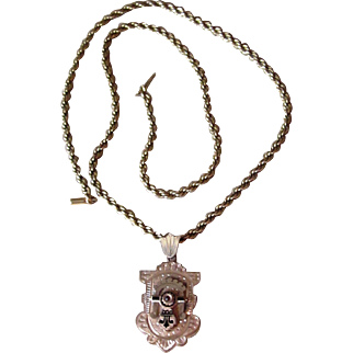 Victorian Gold Filled Large Locket on 24 Inch Gold Filled Chain
