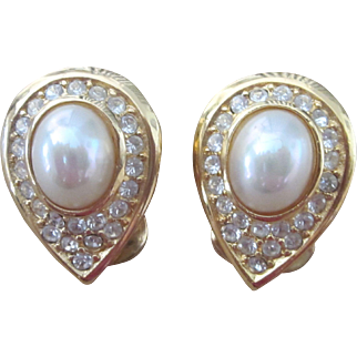 Christian Dior Vintage Teardrop Faux Pearl and Rhinestone Elegant Earrings