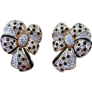 Swarovski Large Bow Runway Signed Designer Vintage Earrings