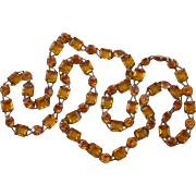 Art Deco Amber Glass Long Vintage Stunning Necklace