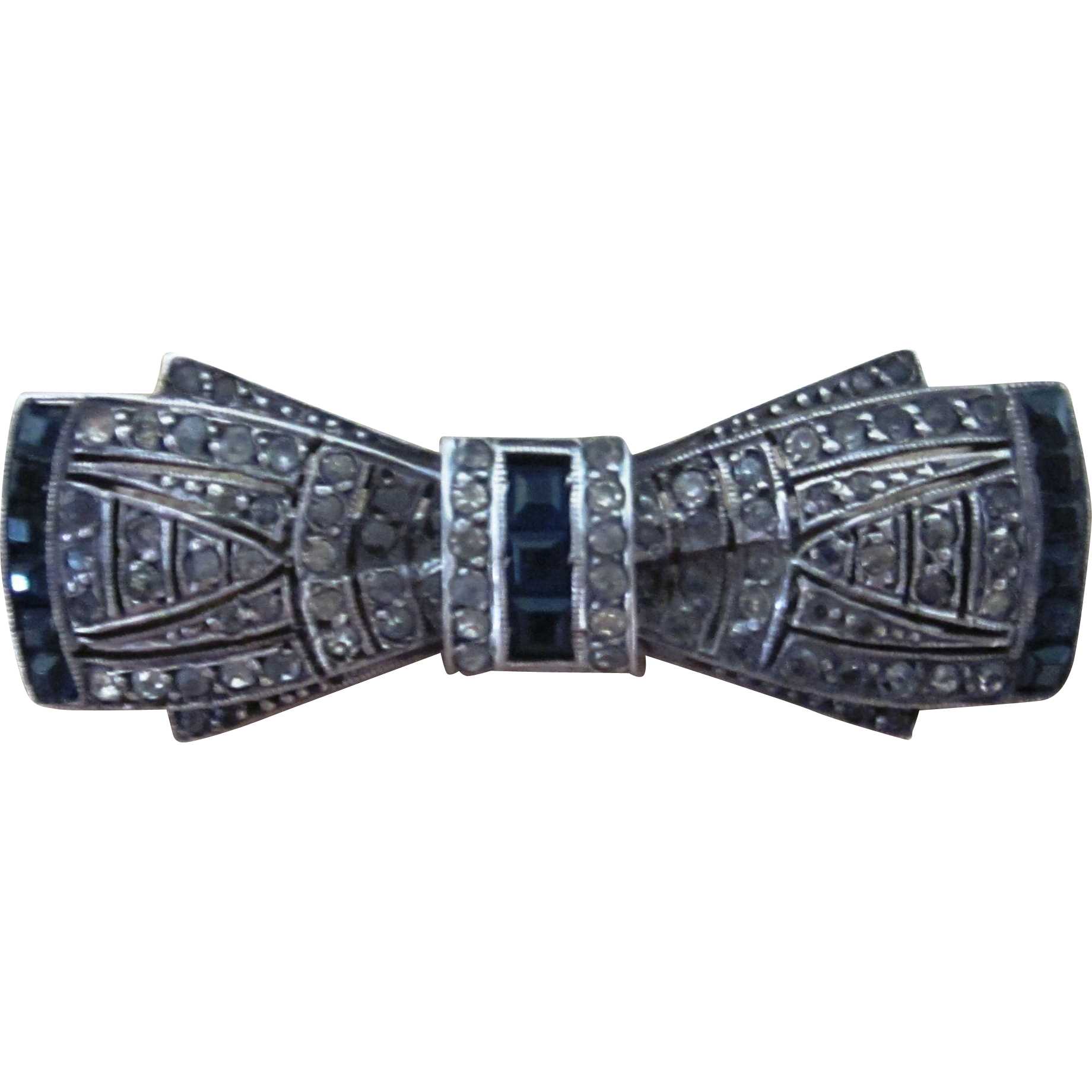 Amazing Art Deco Bow Tie Paste and Sterling Silver  Vintage Brooch