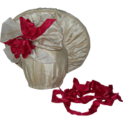 Cream Silk Hat 4 Bisque Dolls Red ribbon details