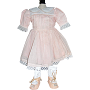 Peach Organdy Dress and Peach oil cloth shoes and socks!