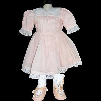 Peach Organdy Dress and Peach oil cloth shoes and socks!