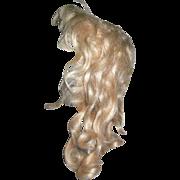 Antique Pale Blond Mohair wig Bangs Curls