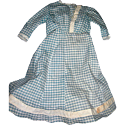 Antique Gingham Dress for Bisque Dolls; 2 pieces
