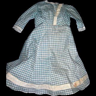 Antique Gingham Dress for Bisque Dolls; 2 pieces