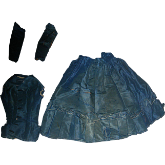 Blue Silk French Fashion Dress; Jacket skirt