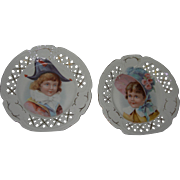 Two Plates Victorian French Childrens Faces Open work Display with Dolls