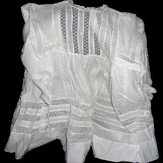 Delightful Crisp White child's Dress for Lg. Bisque Doll