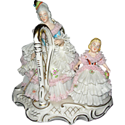 "7 "" Tall Dresden Lady & child with Harp made in Germany"