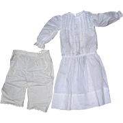 White Dress & Undies for Bisque Doll