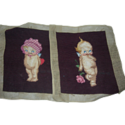 Set of super cute Needlepoint Kewpies...ready to be pillows or bag