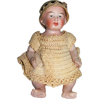 "5 1/2"" Tall All Bisque Baby...cute and clothed!"
