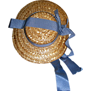 Straw Hat with Pale blue Grosgrain Ribbon