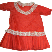 Burnt Orange Cotton Dress for Bisque Dolls