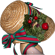 Straw Poke Bonnet Christmasy decorated
