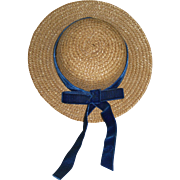 Simple Straw hat with Blue Velvet Ribbon