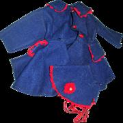 """Vintage Blue & Red Felt Coat and Bonnet for a 12-16"""" doll"""