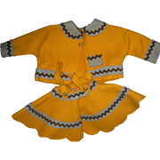 Golden rod Color Felt Jacket & Skirt Lenci doll