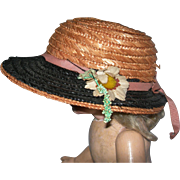 Vintage Straw Hat Navy Pink Colors and flowers